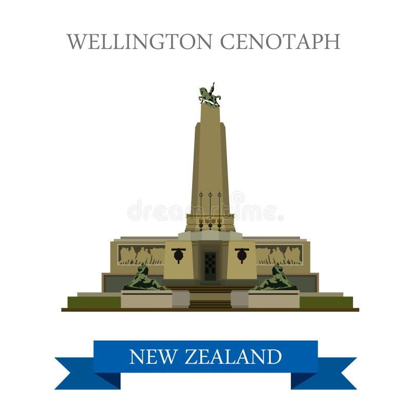 Gränsmärken för dragning för Wellington Cenotaph New Zealand vektorlägenhet stock illustrationer