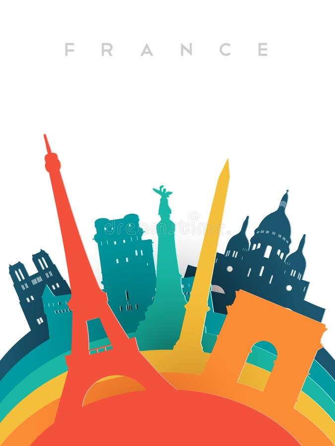 Gränsmärken för värld för snitt för loppFrankrike 3d papper vektor illustrationer