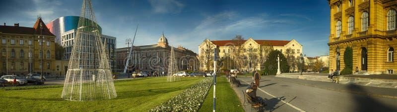 Gränsmärken f Zagreb, huvudKroatien arkivfoton