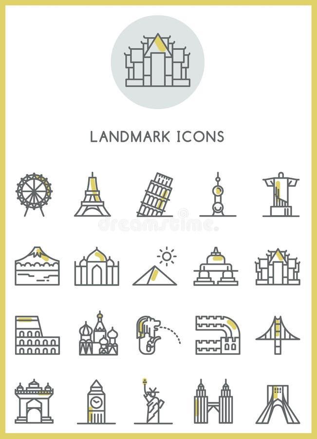 Gränsmärkesymbolsuppsättning royaltyfri illustrationer