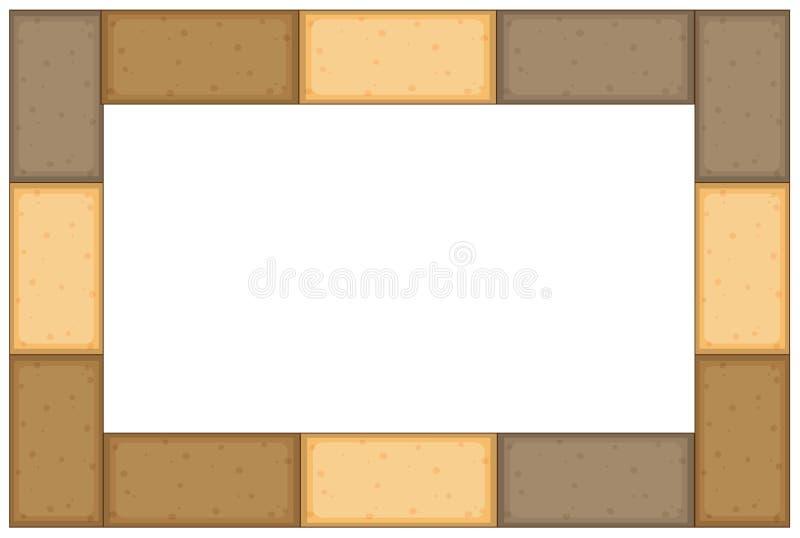 Gränsmall med bruna tegelstenar stock illustrationer