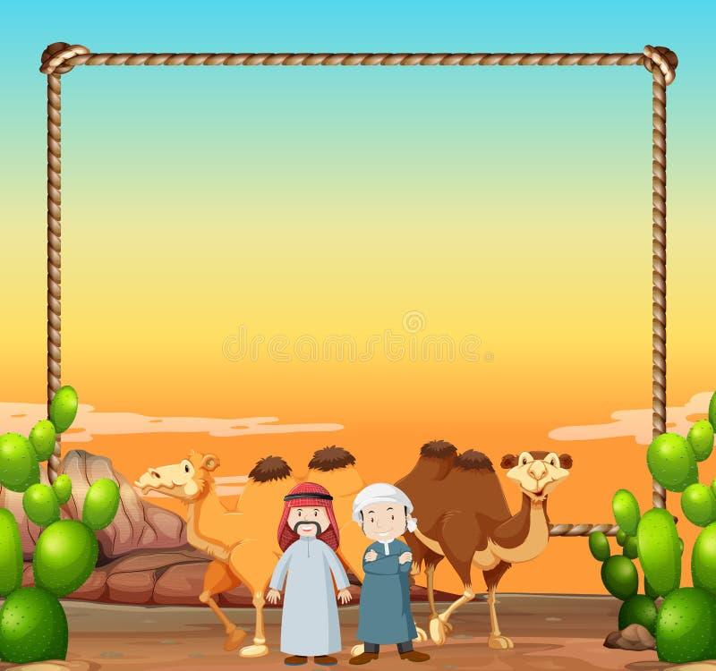 Gränsmall med kamel och arabiska män stock illustrationer