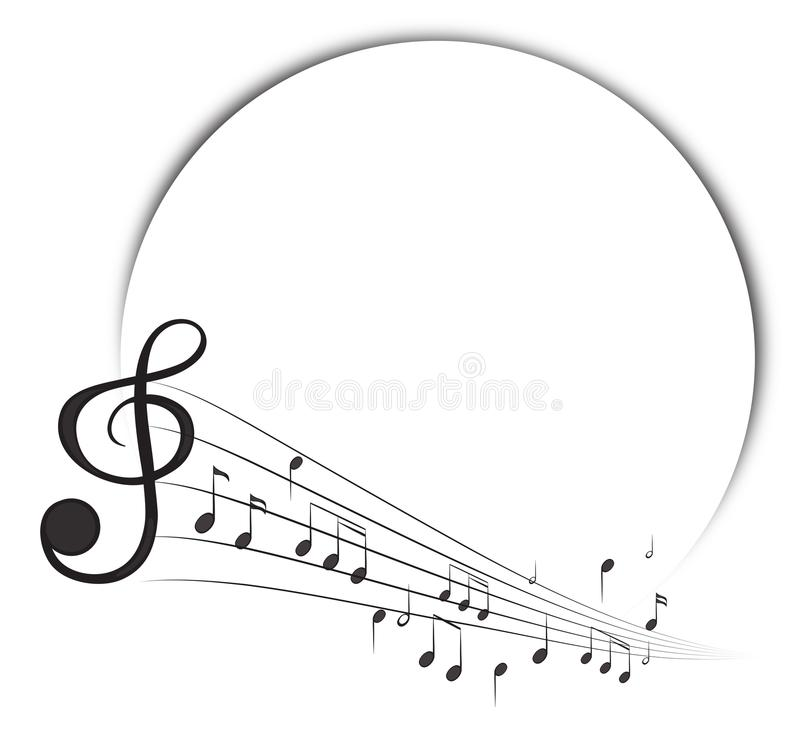 Gränsmall med musikanmärkningar i bakgrund royaltyfri illustrationer