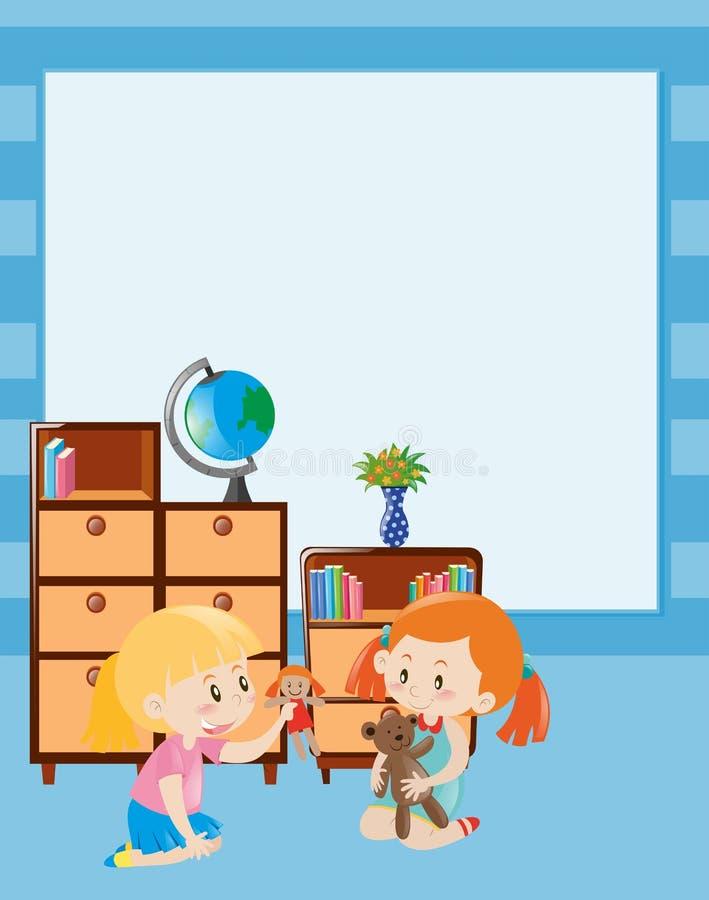 Gränsmall med två flickor som spelar dockan vektor illustrationer