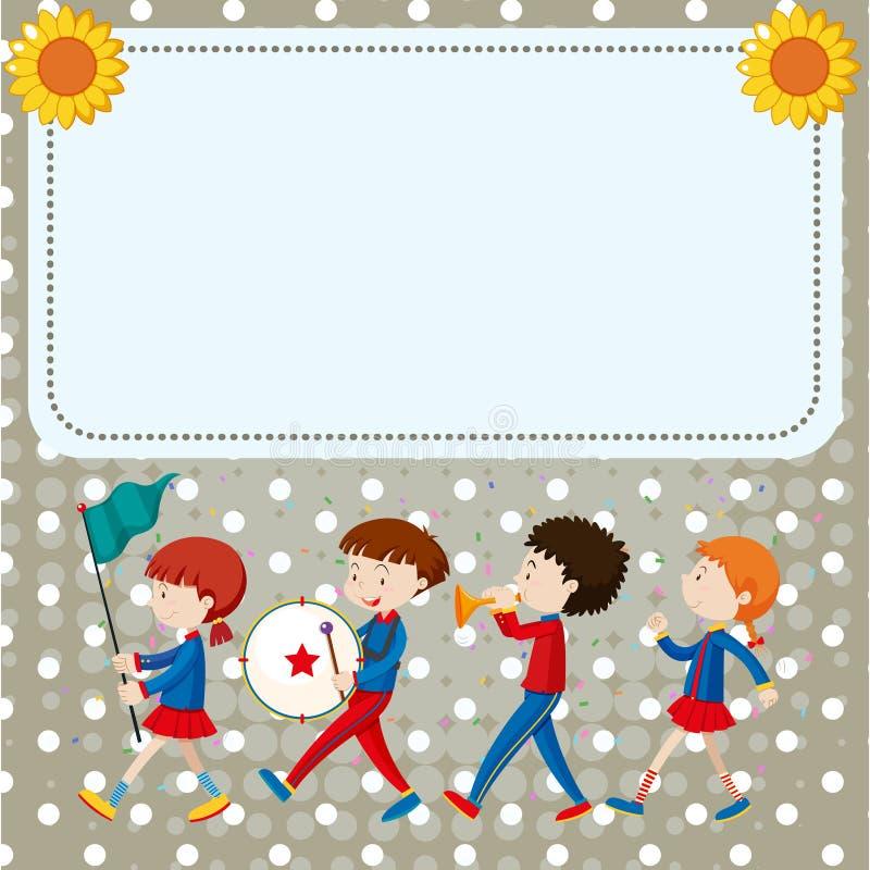 Gränsmall med ungar i musikbandet vektor illustrationer