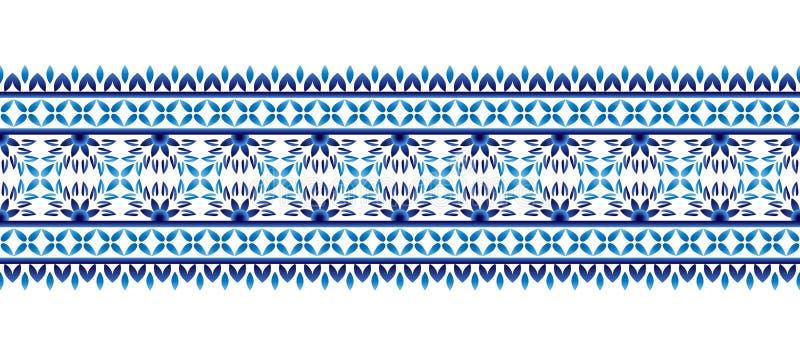 Gränsmodell för keramisk tegelplatta Islamiska, indiska arabiska motiv Sömlös modell för damast gräns Etnisk bohemisk bakgrund fö royaltyfri illustrationer