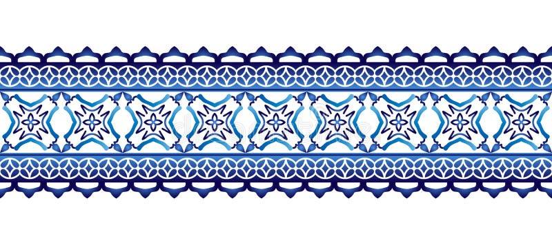 Gränsmodell för keramisk tegelplatta Islamiska, indiska arabiska motiv Sömlös modell för damast gräns Etnisk bohemisk bakgrund fö vektor illustrationer