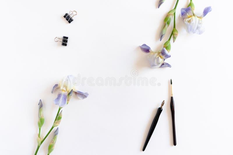 Gränsram som göras av irisblommor, gemmar, målarfärgborstar arkivbilder