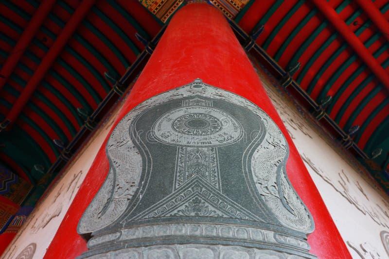 Gränssten på pol i kinesisk tempel royaltyfri bild