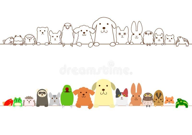 Gränsuppsättning för älsklings- djur vektor illustrationer