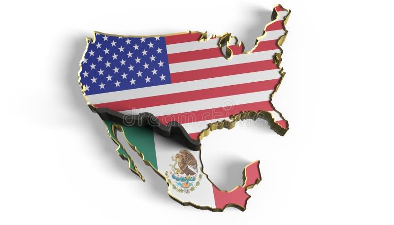 Gränsvägg mellan Mexico och USA stock illustrationer