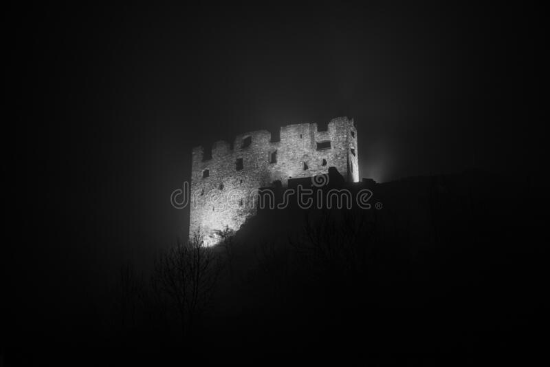 Gräpplang Castle Ruins. The Gräpplang Castle in the dark fog. It is a Swiss heritage site in the municipality of Flums, in the Canton of St. Gallen royalty free stock image