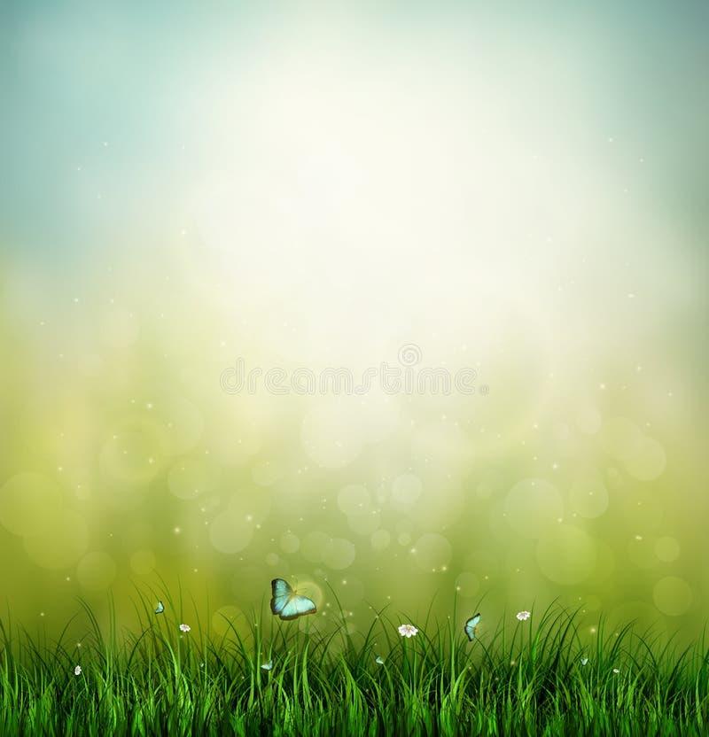 Gräs, blomma och fjäril stock illustrationer