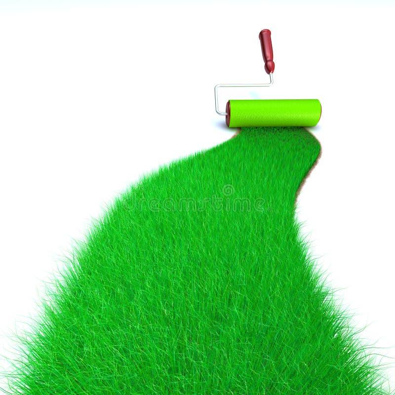 gräs den gröna målningen royaltyfri illustrationer