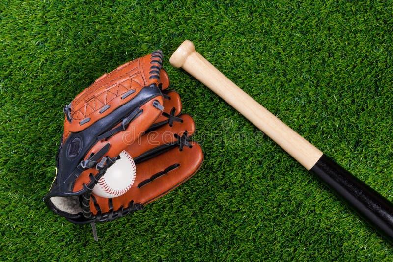 gräs för handske för bollbaseballslagträ royaltyfri fotografi