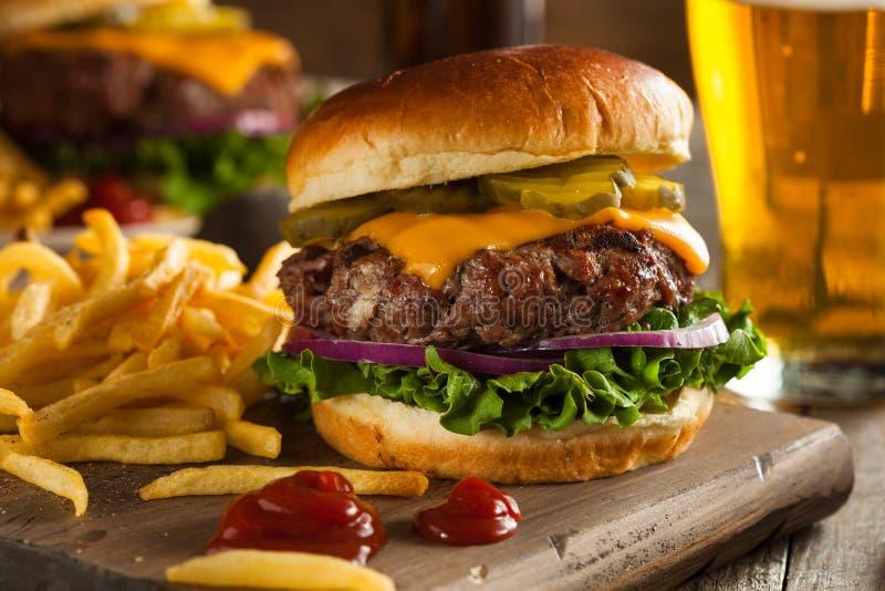 Gräs Fed Bison Hamburger royaltyfria foton