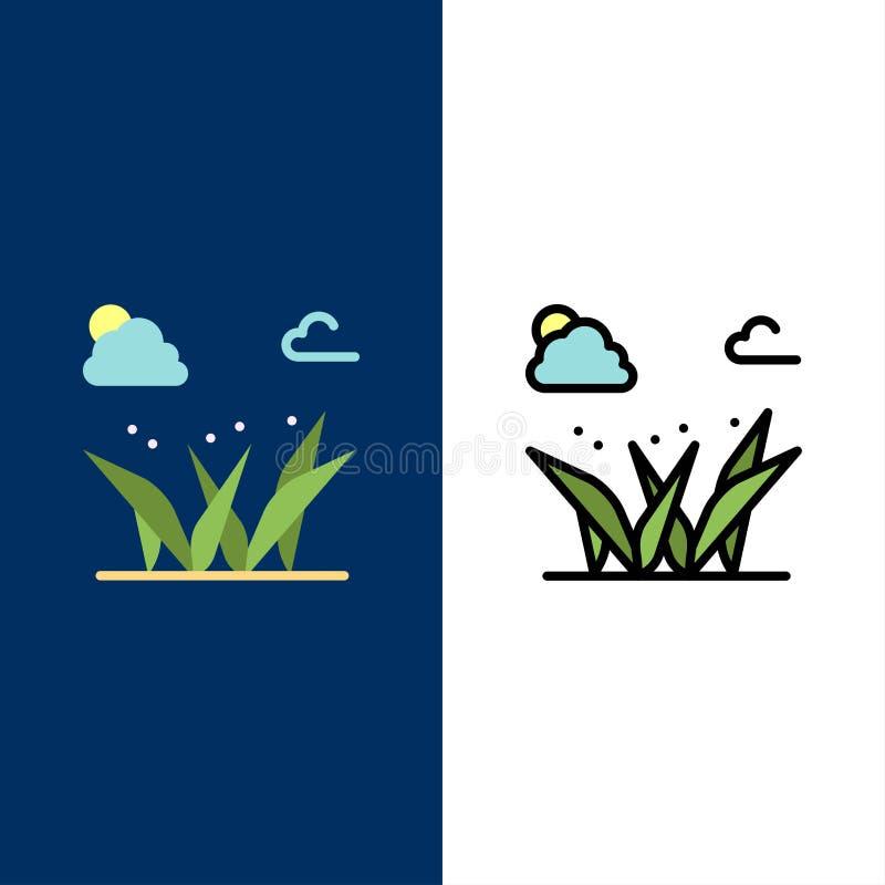 Gräs gräs, gräsplan, vårsymboler Lägenheten och linjen fylld symbol ställde in blå bakgrund för vektorn royaltyfri illustrationer