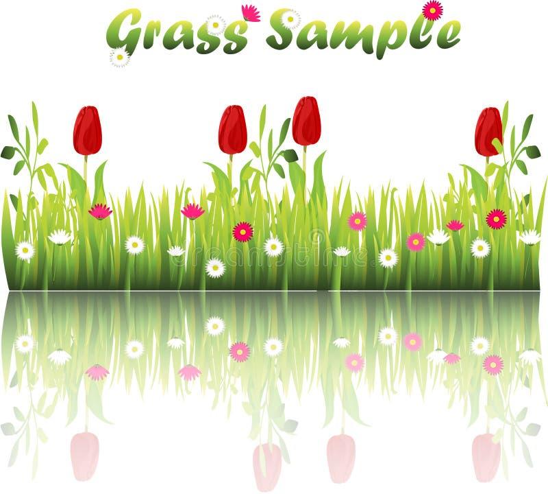 Gräs med blommor stock illustrationer