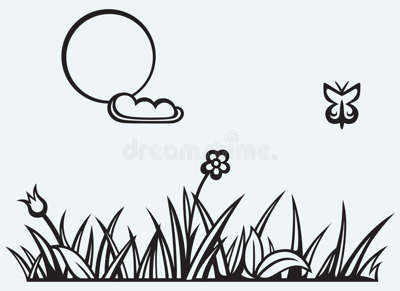 Gräs och blomma vektor illustrationer