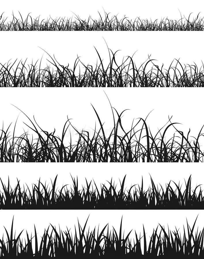 Gräs- och gräsmattakonturuppsättning royaltyfri illustrationer