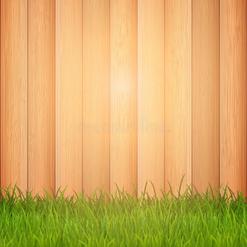 Gräs på träbakgrund stock illustrationer