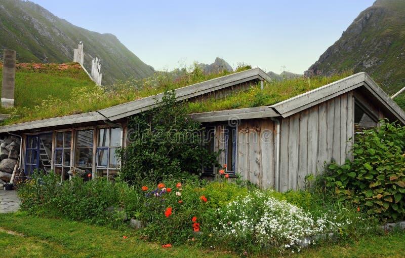 Gräs räknade det norska huset arkivfoto