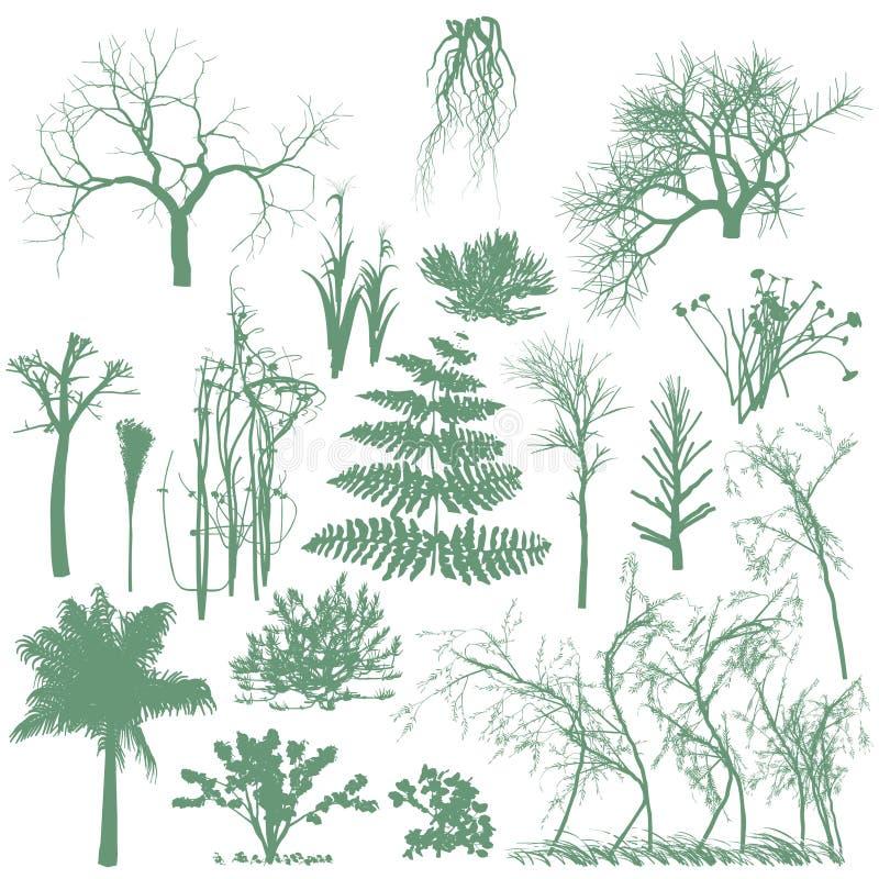 gräs silhouettes trees royaltyfri illustrationer