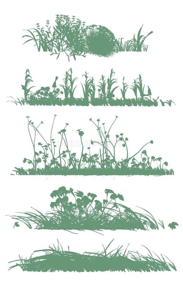 gräs silhouettestrees royaltyfri illustrationer