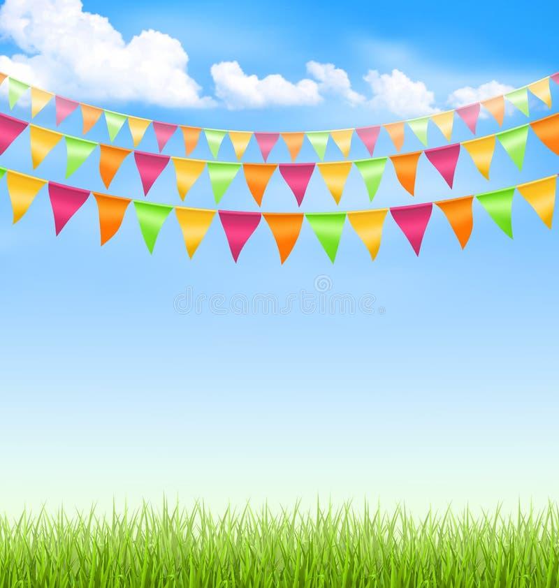 Gräsgräsmatta med ljusa buntings fördunklar på blå himmel royaltyfri illustrationer