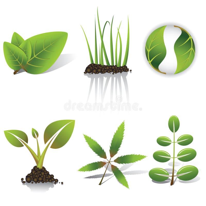 gräsgreenleaves vektor illustrationer