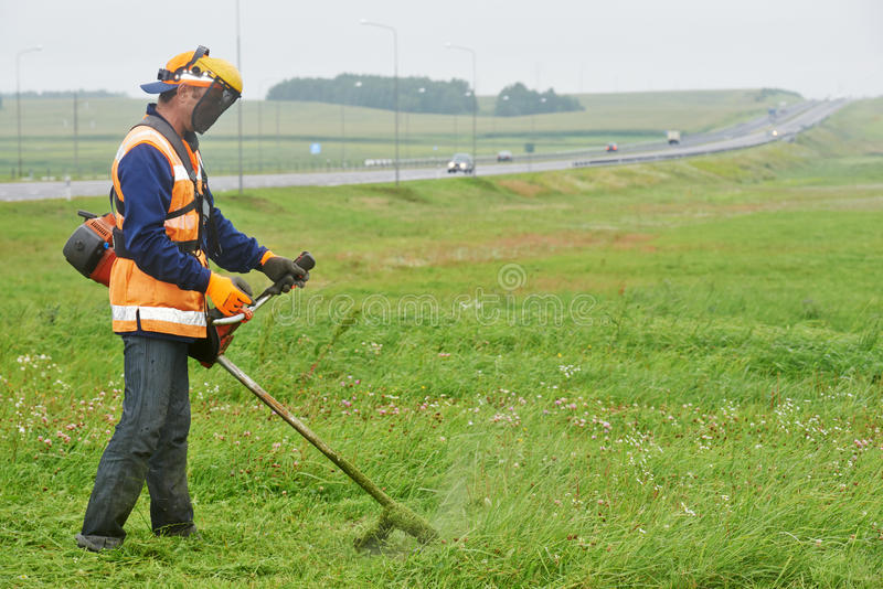Gräsklipparearbetare royaltyfri bild
