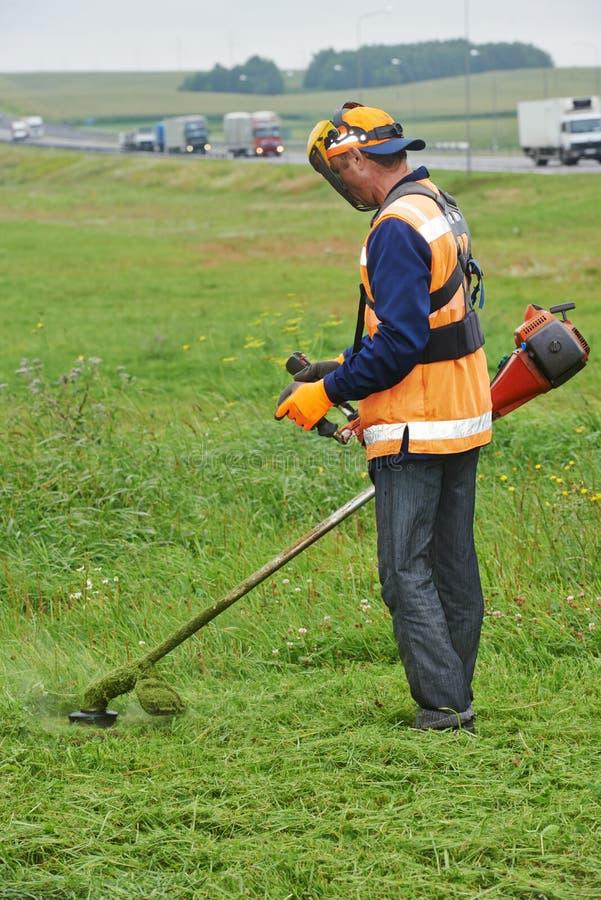 Gräsklipparearbetare royaltyfri foto