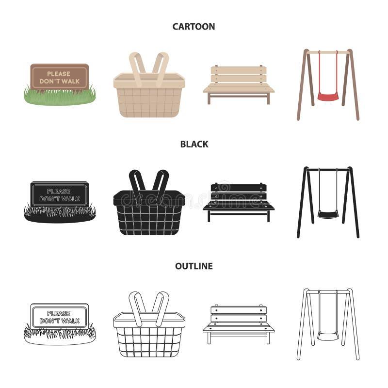 Gräsmatta med ett tecken, en korg med mat, en bänk, en gunga Parkera fastställda samlingssymboler i tecknad film, svärta, skisser stock illustrationer