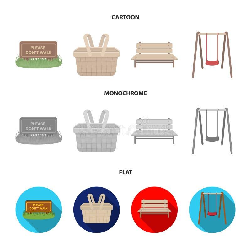 Gräsmatta med ett tecken, en korg med mat, en bänk, en gunga Parkera fastställda samlingssymboler i tecknade filmen, lägenheten,  royaltyfri illustrationer