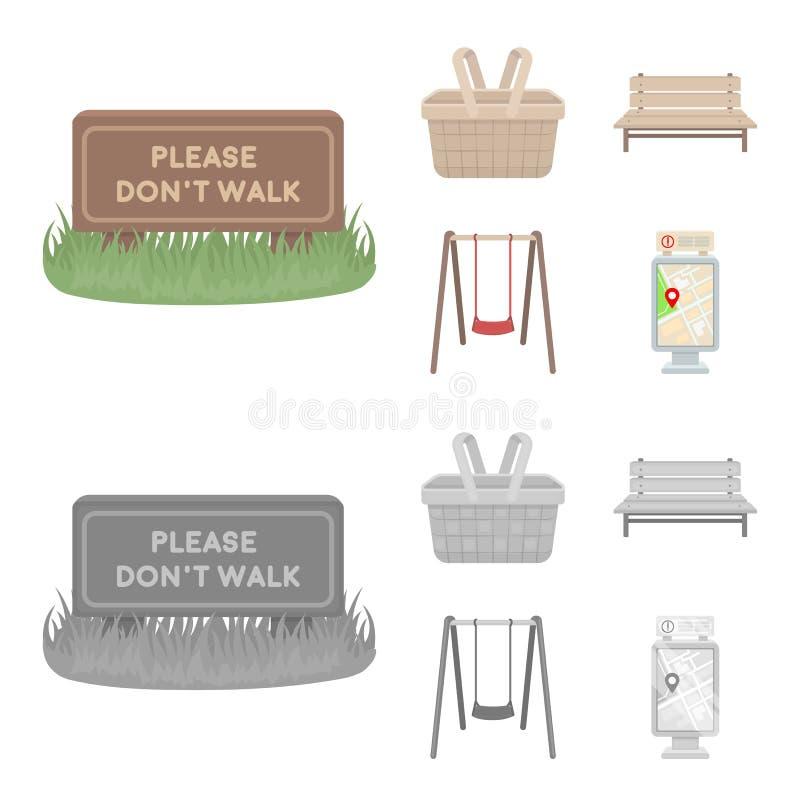 Gräsmatta med ett tecken, en korg med mat, en bänk, en gunga Parkera fastställda samlingssymboler i tecknade filmen, monokrom sti vektor illustrationer