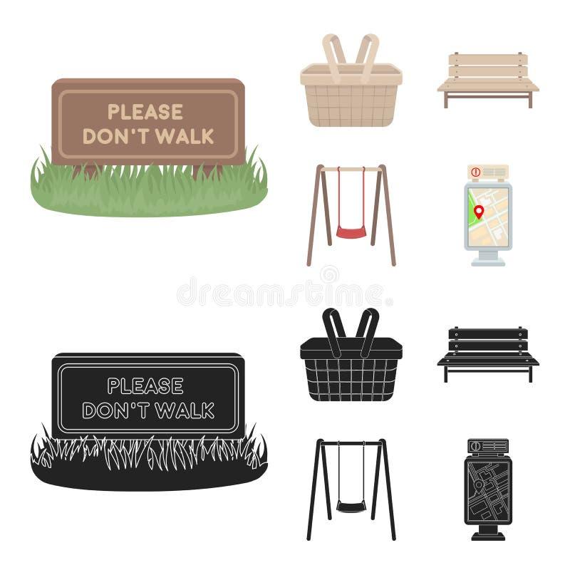 Gräsmatta med ett tecken, en korg med mat, en bänk, en gunga Parkera fastställda samlingssymboler i tecknade filmen, svart stilve stock illustrationer