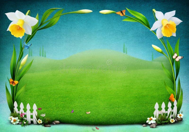Gräsmatta med påskliljor vektor illustrationer