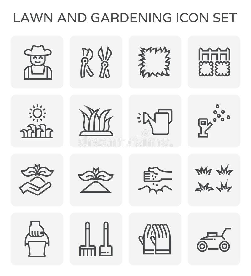 Gräsmatta som arbeta i trädgården symbolen vektor illustrationer
