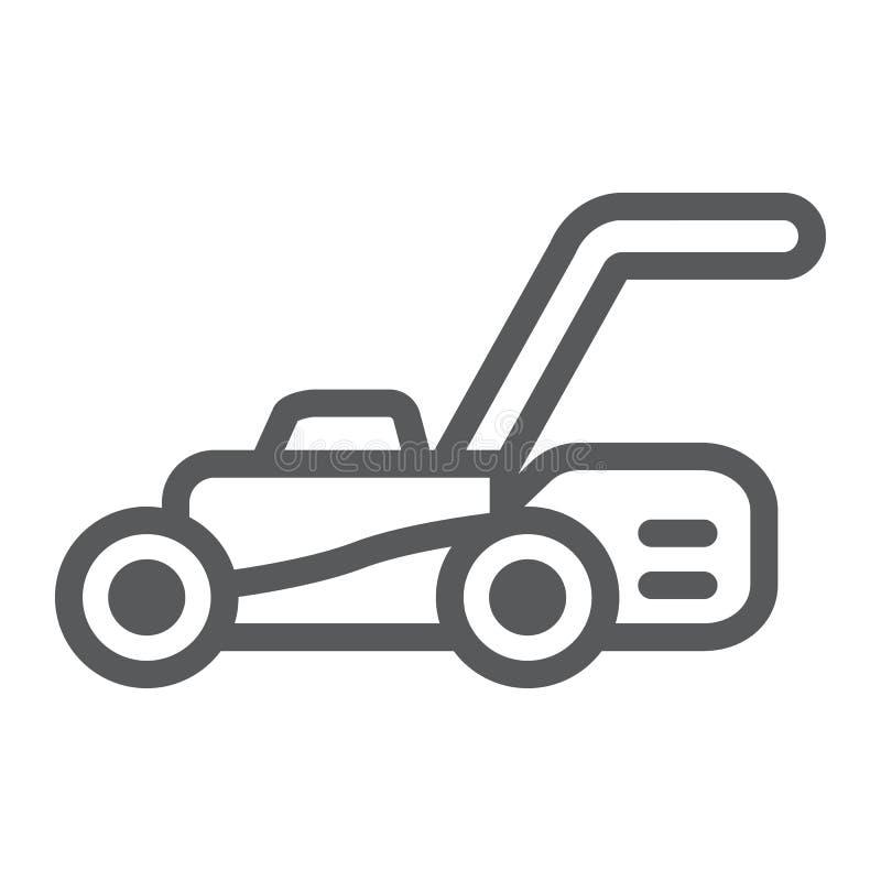 Gräsmattaflyttkarllinje symbol, utrustning och trädgård, skäraretecken, vektordiagram, en linjär modell på en vit bakgrund royaltyfri illustrationer