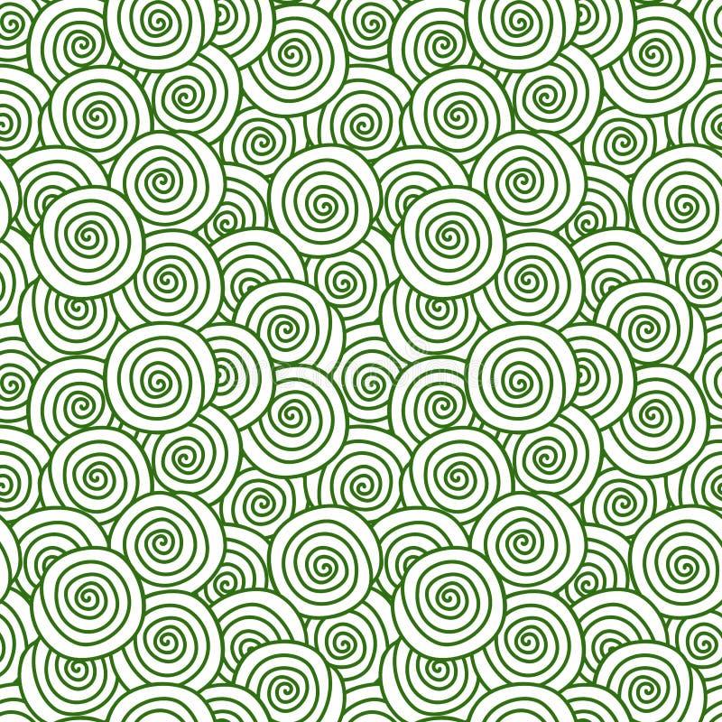 Gräsmattagräs virvlar runt sömlös textur stock illustrationer
