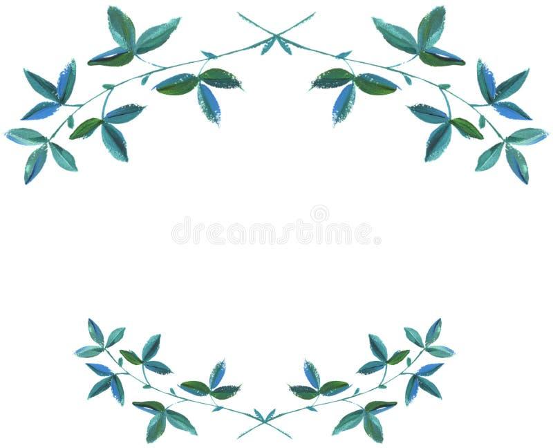 Gräsplan-blått lämnar illustrationen grafisk design arkivfoto