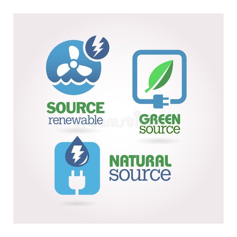 Gräsplan - ekologi - maktsymbolsuppsättning royaltyfri illustrationer