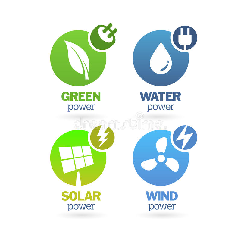 Gräsplan - ekologi - maktsymbolsuppsättning vektor illustrationer