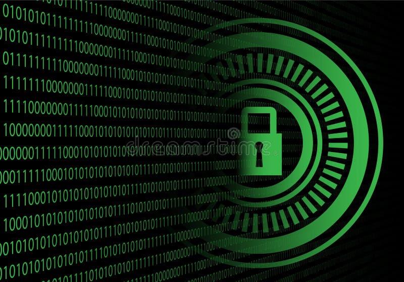 Gräsplan för datoren för teknologisäkerhetsdata skyddar bakgrund för vektorn för internetnätverket royaltyfri illustrationer