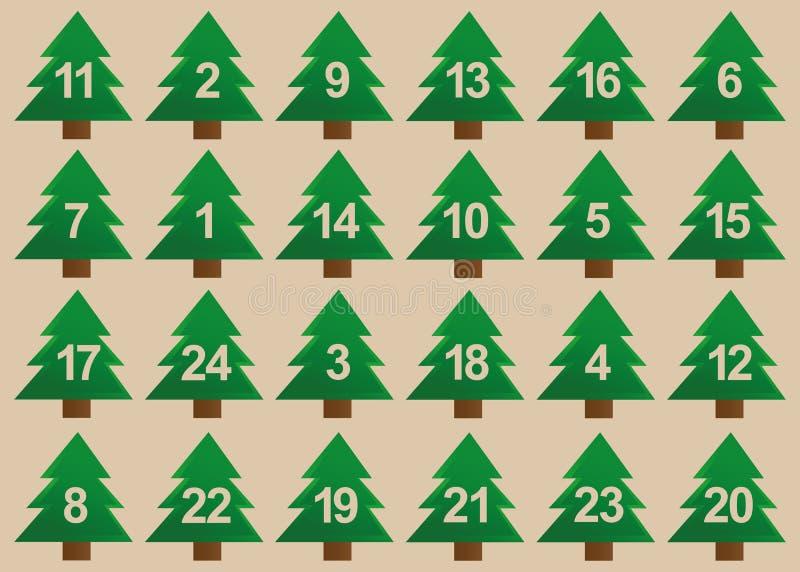 Gräsplan för julgranadventkalender vektor illustrationer