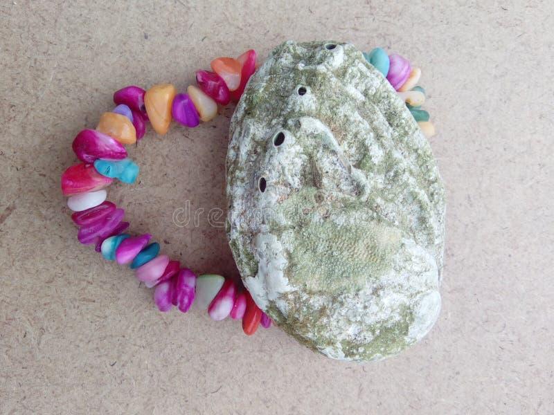 Gräsplan för Shell havssand vaggar det färgrika armbandet arkivbilder