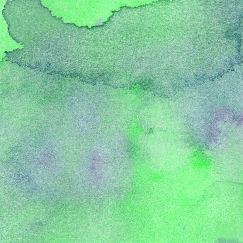 Gräsplan för smaragden för marmor för vattenfärgtextur färgar genomskinlig, mintkaramellblått Abstrakt bakgrund för vattenfärg royaltyfri illustrationer