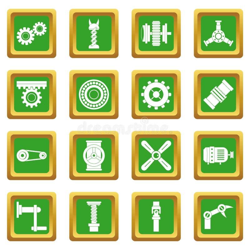 Gräsplan för uppsättning för symboler för Techno mekanismsats stock illustrationer