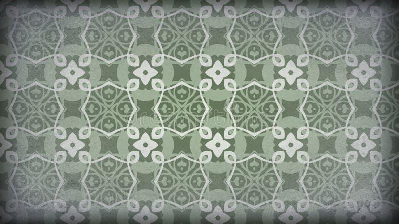 Gräsplan och Gray Vintage Decorative Floral Pattern tapetdesign stock illustrationer