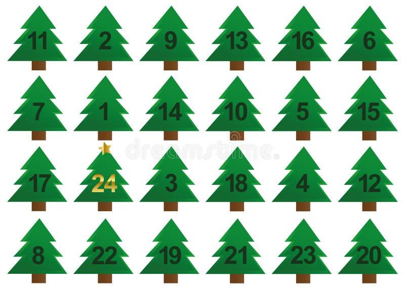 Gräsplan och guld för julgranadventkalender vektor illustrationer